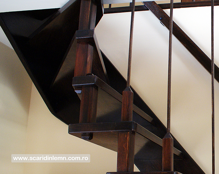 Scari interioare de lemn masiv pe vanguri suspendata pe corzi, pret, design, proiect scara, modele scari